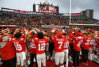 "Ohio State Buckeyes players sing ""Carmen Ohio"" following the NCAA football game against the Rutgers Scarlet Knights at Ohio Stadium in Columbus on Sept. 8, 2018. Ohio State won 52-3. [Adam Cairns / Dispatch]"