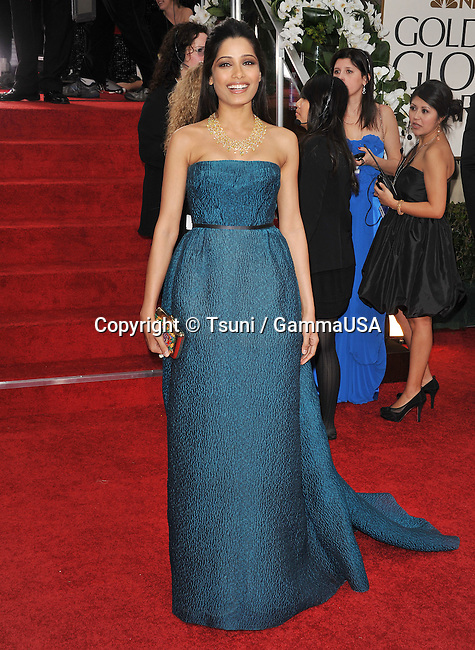 freida Pinto   at The 2012 Golden Globe Awards at the Beverly Hilton Hotel In Beverly Hills, CA