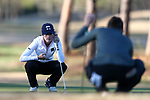 BROWNS SUMMIT, NC - APRIL 01: Notre Dame's Jordan Ferreira (left) sizes up a putt on the 9th green. The first round of the Bryan National Collegiate Women's Golf Tournament was held on April 1, 2017, at the Bryan Park Champions Course in Browns Summit, NC.