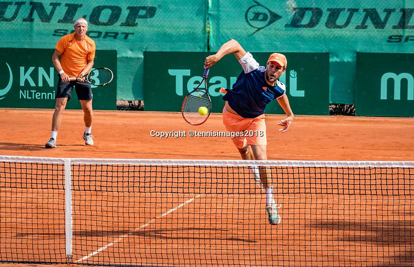 The Hague, Netherlands, 09 June, 2018, Tennis, Play-Offs Competition, Men's doubles: Arko Zoutendijk (back) and Boy Westerhof (NED)<br /> Photo: Henk Koster/tennisimages.com