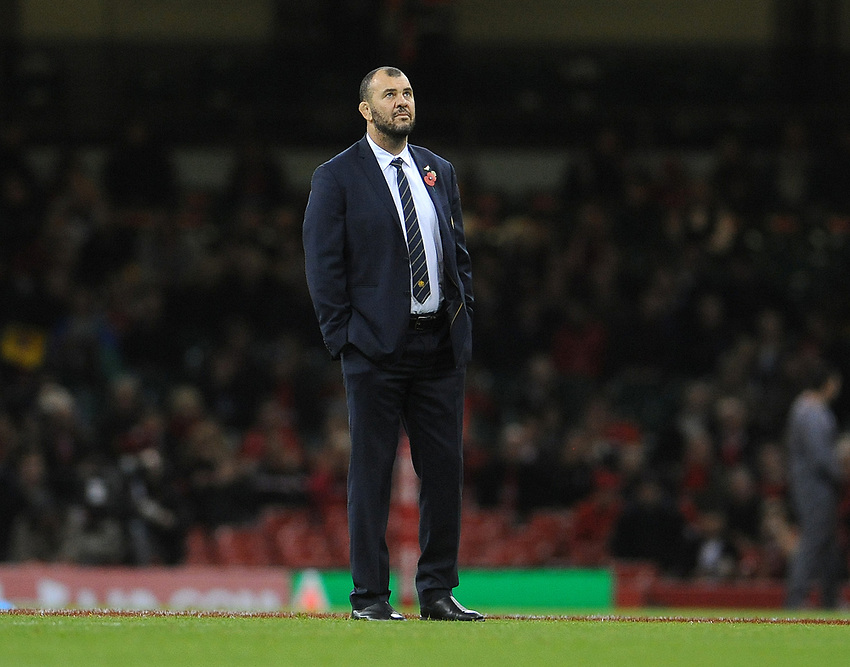 Australia's Head coach Michael Cheika during the pre match warm up<br /> <br /> Photographer Ian Cook/CameraSport<br /> <br /> Under Armour Series Autumn Internationals - Wales v Australia - Saturday 10th November 2018 - Principality Stadium - Cardiff<br /> <br /> World Copyright © 2018 CameraSport. All rights reserved. 43 Linden Ave. Countesthorpe. Leicester. England. LE8 5PG - Tel: +44 (0) 116 277 4147 - admin@camerasport.com - www.camerasport.com