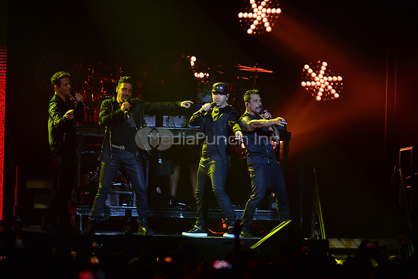 HOLLYWOOD, FL - JULY 16: Jonathan Knight, Joey McIntyre, Donnie Wahlberg and Danny Wood of New Kids On The Block perform during The Total Package Tour at Hard Rock Live at Seminole Hard Rock Hotel & Casino – Hollywood on July 16, 2017 in Miami, Florida. Credit: MPI10 / MediaPunch