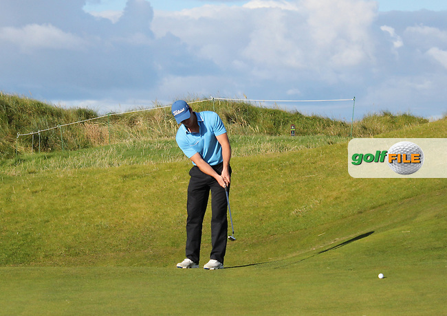 Colin Fairweather (Knock) on the 1st green during Matchplay Round 3 of the South of Ireland Amateur Open Championship at LaHinch Golf Club on Saturday 25th July 2015.<br /> Picture:  Golffile | TJ Caffrey