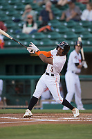 Fresno Grizzlies second baseman Tony Kemp (5) at bat during a Pacific Coast League game against the Salt Lake Bees at Chukchansi Park on May 14, 2018 in Fresno, California. Fresno defeated Salt Lake 4-3. (Zachary Lucy/Four Seam Images)