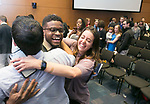 Duke med student Godfrey Chery is overjoyed after matching at Duke for internal medicine as he hugs classmates Chelsea Feldman and Rohit Tejwani during Match Day at Duke University School of Medicine's Trent Semans Center on Friday, March 17, 2017.