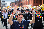 © Joel Goodman - 07973 332324 . 26/08/2017. Manchester , UK. Greater Manchester Metro Mayor ANDY BURNHAM dancing to YMCA at the 2017 Pride parade through Manchester City Centre . The annual festival , which is the largest of its type in Europe , celebrates LGBT life . Photo credit : Joel Goodman