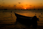 At sunset the boats are all tied up and ready for another day in Los Roques,Venezuela.