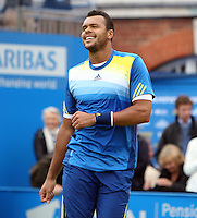 13.06.13 London, England. Jo-Wilfried Tsonga celebrates after beating Edouard Roger-Vasselin during the The Aegon Championships from the The QueenÕs Club in West Kensington.
