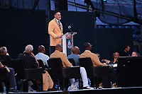Canton, Ohio - August 3, 2019: Kevin Mawae gives his enshrinement speech at the Tom Benson Hall of Fame Stadium in Canton, Ohio August 3, 2019 after his induction into the Pro Football Hall of Fame.  (Photo by Don Baxter/Media Images International)