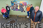 Students Julia Swigon and Emily Molloy from the Kerry College of Education standing with members of the Tidy Tralee Together committee at the new mural in the Abbey carpark on Tuesday.<br /> Front of shot Joe Moynihan (Chairman of Tidy Tralee Together).<br /> Back l to r:  Terry O'Brien (PRO of Tralee Tidy Together), Julia Swigon, Emily Molloy and Brendan O'Brien.