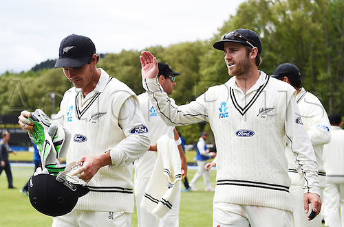 14.12.2015. Dunedin, New Zealand.  Kane Williamson celebrates with BJ Watling (L) as New Zealand win the test match on day 5 of the 1st cricket test match between New Zealand Black Caps and Sri Lanka at University Oval, Dunedin, New Zealand. Monday 14 December 2015.