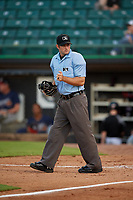 Umpire Ben Sonntag during a Southern League game between the Mississippi Braves and Jackson Generals on July 23, 2019 at The Ballpark at Jackson in Jackson, Tennessee.  Mississippi defeated Jackson 1-0 in the second game of a doubleheader.  (Mike Janes/Four Seam Images)