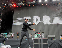 CHANCE THE RAPPER throws a bottle of water on the crowd as he performs during The New Look Wireless Festival at Finsbury Park, London, England on 28 June 2015. Photo by Andy Rowland.