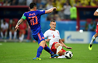 KAZAN - RUSIA, 24-06-2018: Jacek GORALSKI (Der) jugador de Polonia disputa el balón con James RODRIGUEZ (Izq) jugador de Colombia durante partido de la primera fase, Grupo H, por la Copa Mundial de la FIFA Rusia 2018 jugado en el estadio Kazan Arena en Kazán, Rusia. /  Jacek GORALSKI (R) player of Polonia fights the ball with James RODRIGUEZ (L) player of Colombia during match of the first phase, Group H, for the FIFA World Cup Russia 2018 played at Kazan Arena stadium in Kazan, Russia. Photo: VizzorImage / Julian Medina / Cont
