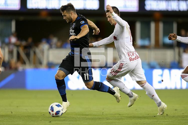 San Jose, CA - Saturday October 06, 2018: Vako, Alex Muyl during a Major League Soccer (MLS) match between the San Jose Earthquakes and the New York Red Bulls at Avaya Stadium.