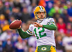 14 December 2014: Green Bay Packers quarterback Aaron Rodgers sets to pass in the first quarter against the Buffalo Bills at Ralph Wilson Stadium in Orchard Park, NY. The Bills defeated the Packers 21-13, snapping the Packers' 5-game winning streak and keeping the Bills' 2014 playoff hopes alive. Mandatory Credit: Ed Wolfstein Photo *** RAW (NEF) Image File Available ***