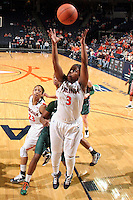 Jan. 6, 2011; Charlottesville, VA, USA; Virginia Cavaliers guard Paulisha Kellum (3) grabs the rebound during the game against the Miami Hurricanes at the John Paul Jones Arena. Miami won 82-73. Mandatory Credit: Andrew Shurtleff-