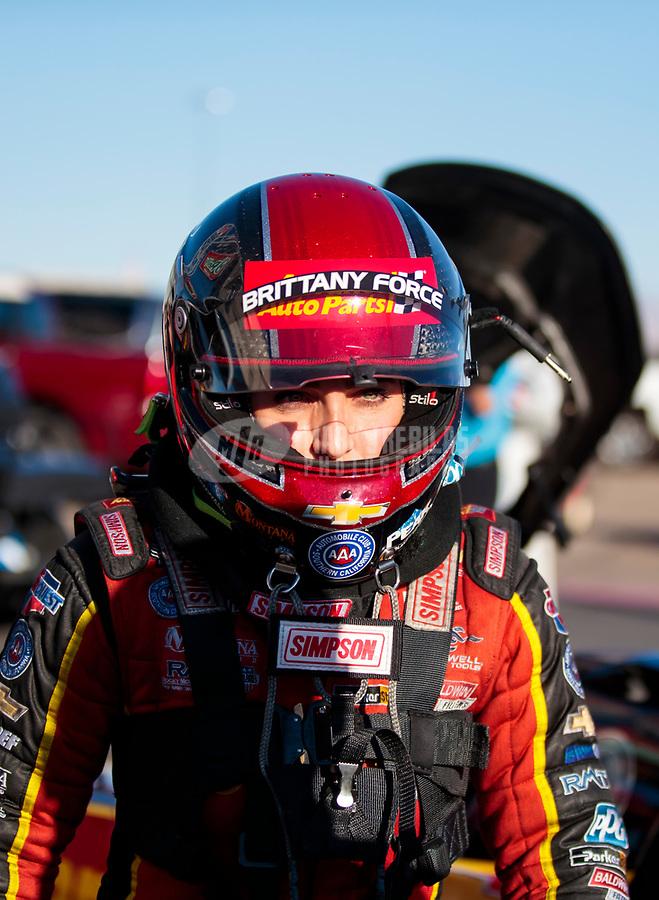 Nov 3, 2019; Las Vegas, NV, USA; NHRA top fuel driver Brittany Force during the Dodge Nationals at The Strip at Las Vegas Motor Speedway. Mandatory Credit: Mark J. Rebilas-USA TODAY Sports