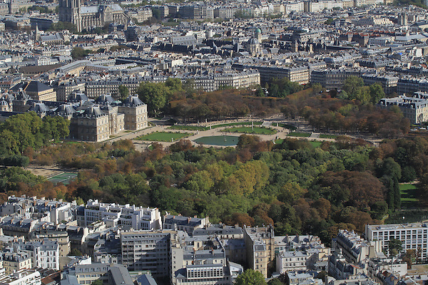 View of Luxembourg Gardens from the Montparnasse building and observatory, Paris, France.