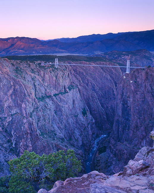 Daybreak  on the Royal Gorge Bridge, world's highest suspension bridge, over Arkansas River, CO