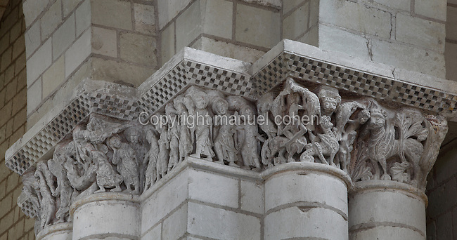 Apostles, 2 of whom are placing the shroud in the tomb with angels above lifting the Virgin's soul to Heaven, carved capitals from nave of Romanesque abbey church, Fontevraud Abbey, Fontevraud-l'Abbaye, Loire Valley, Maine-et-Loire, France. The abbey itself was founded in 1100 by Robert of Arbrissel, who created the Order of Fontevraud. It was a double monastery for monks and nuns, run by an abbess. The order was dissolved during the French Revolution and the building subsequently used as a prison. Picture by Manuel Cohen