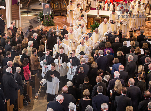 Mar. 4, 2015; Members of the Congregation of Holy Cross begin the procession out of the Basilica of the Sacred Heart following the funeral Mass of University of Notre Dame President Emeritus Rev. Theodore M. Hesburgh, C.S.C. (Photo by Matt Cashore/University of Notre Dame)