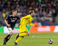 "Foxborough, Massachusetts - May 15, 2019: In ""Final Whistle on Hate"" charity match, Chelsea FC (yellow) defeated New England Revolution (blue/white), 3-0, at Gillette Stadium on May 15, 2019 in Foxborough, Massachusetts. (Photo by Andrew Katsampes/ISI Photos)."
