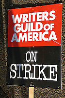 WGA, Writers Guild of America, On Strike Sign, Hollywood, CA