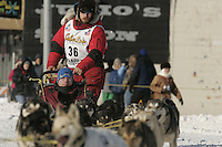 Jason Mackey in Anchorage on Saturday March 1st during the ceremonial start day of the 2008 Iidtarod Sled Dog Race.