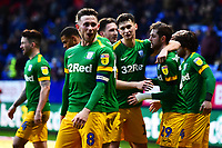 Preston North End's Alan Browne reacts as Preston North End's  Tom Barkhuizen celebrates scoring his side's second goal with his team-mates<br /> <br /> Photographer Richard Martin-Roberts/CameraSport<br /> <br /> The EFL Sky Bet Championship - Bolton Wanderers v Preston North End - Saturday 9th February 2019 - University of Bolton Stadium - Bolton<br /> <br /> World Copyright &copy; 2019 CameraSport. All rights reserved. 43 Linden Ave. Countesthorpe. Leicester. England. LE8 5PG - Tel: +44 (0) 116 277 4147 - admin@camerasport.com - www.camerasport.com