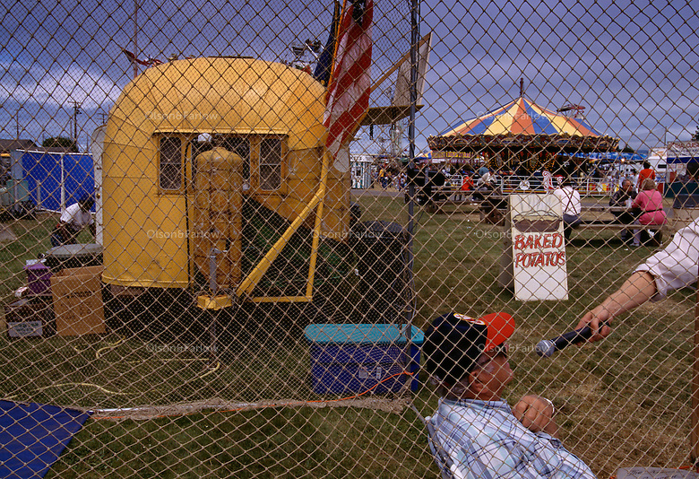 Broadcasting live from the Del Norte County Fair fast-pitch baseball booth in California