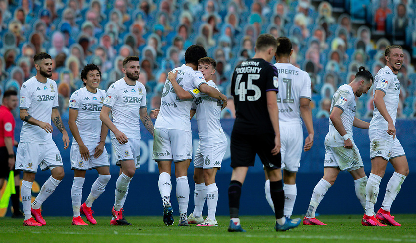 Leeds United's Jamie Shackleton celebrates scoring his side's fourth goal with teammates<br /> <br /> Photographer Alex Dodd/CameraSport<br /> <br /> The EFL Sky Bet Championship - Leeds United v Charlton Athletic - Wednesday July 22nd 2020 - Elland Road - Leeds <br /> <br /> World Copyright © 2020 CameraSport. All rights reserved. 43 Linden Ave. Countesthorpe. Leicester. England. LE8 5PG - Tel: +44 (0) 116 277 4147 - admin@camerasport.com - www.camerasport.com