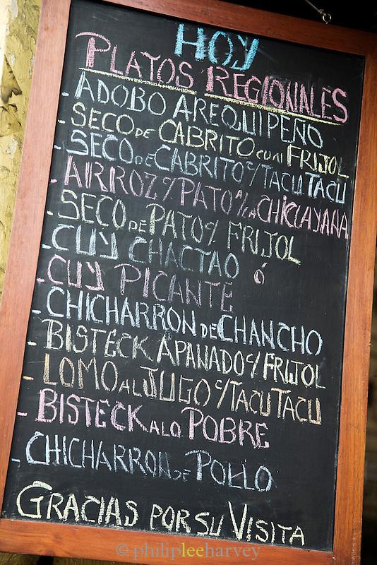 Restaurant Menu, Lima, Peru, South America