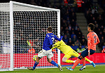 Jamie Vardy of Leicester City scores past Jordan Pickford of Everton during the Premier League match at the King Power Stadium, Leicester. Picture date: 1st December 2019. Picture credit should read: Darren Staples/Sportimage