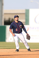 Jack Mayfield (2) of the Lancaster JetHawks in the field during a game against the San Jose Giants at The Hanger on April 11, 2015 in Lancaster, California. San Jose defeated Lancaster, 8-3. (Larry Goren/Four Seam Images)