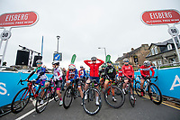 Picture by Allan McKenzie/SWpix.com - 15/05/2018 - Cycling - OVO Energy Tour Series Womens Race - Round 2:Motherwell - The riders prepare to be gridded, Eisberg, branding.