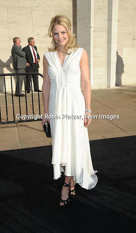 "actress Jennifer Morrison in Yves Saint Laurent white dress attending The Metropolitan Opera's Gala Premiere of ""Armida"" on April 12, 2010 at The Metropolitan Opera House in New York City"