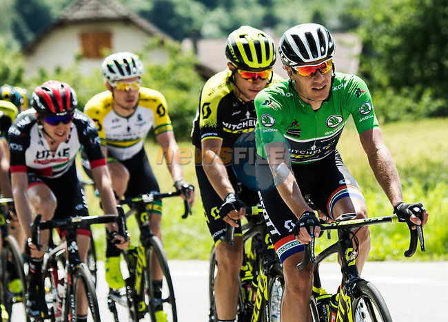 Green Jersey Daryl Impey (RSA) Mitchelton-Scott in action during Stage 5 of the 2018 Criterium du Dauphine 2018 running 130km from Grenoble to Valmorel, France. 8th June 2018.<br /> Picture: ASO/Alex Broadway | Cyclefile<br /> <br /> <br /> All photos usage must carry mandatory copyright credit (© Cyclefile | ASO/Alex Broadway)