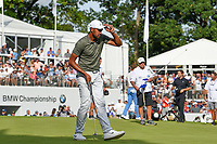 Tony Finau (USA) sinks his putt on 18 during Rd4 of the 2019 BMW Championship, Medinah Golf Club, Chicago, Illinois, USA. 8/18/2019.<br /> Picture Ken Murray / Golffile.ie<br /> <br /> All photo usage must carry mandatory copyright credit (© Golffile | Ken Murray)