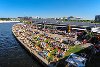 Berlin, Germany. Beach Bar on the River Spree. Capital Beach at Ludwig Erhard Ufer.