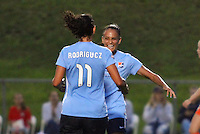 Piscataway, NJ - Saturday July 09, 2016: Raquel Rodriguez, Taylor Lytle celebrates scoring during a regular season National Women's Soccer League (NWSL) match between Sky Blue FC and the Houston Dash at Yurcak Field.