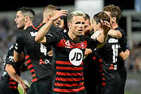 28th February 2020; Netstrata Jubilee Stadium, Sydney, New South Wales, Australia; A League Football, Sydney FC versus Western Sydney Wanderers; Nicolai Muller of Western Sydney Wanderers celebrates after Mitchell Duke of Western Sydney Wanderers scores to make it 1-0 in minute 81
