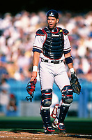 Javy Lopez of the Atlanta Braves participates in a Major League Baseball game at Dodger Stadium during the 1998 season in Los Angeles, California. (Larry Goren/Four Seam Images)