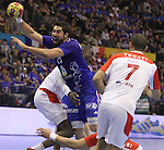 12.01.2013 Granollers, Spain. IHF men's world championship, prelimanary round. Picture show Nikola Karabatic in action during game between France vs Tunisia at Palau d'esports de Granollers