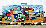 Graffiti mural on outdoor wall in The Strip, Pittsburgh