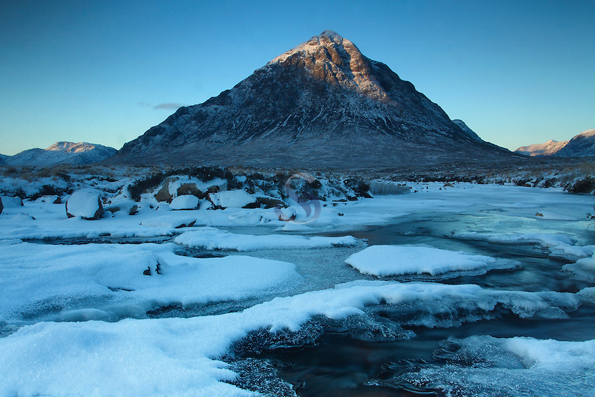 Buachaille Etive Mor and the River Etive at dawn during winter, Highlands<br /> <br /> Copyright www.scottishhorizons.co.uk/Keith Fergus 2011 All Rights Reserved