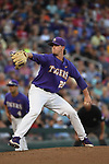 OMAHA, NE - JUNE 26: Nick Bush (29) of Louisiana State University pitches against the University of Florida during the Division I Men's Baseball Championship held at TD Ameritrade Park on June 26, 2017 in Omaha, Nebraska. The University of Florida defeated Louisiana State University 4-3 in game one of the best of three series. (Photo by Jamie Schwaberow/NCAA Photos via Getty Images)