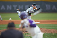 Campbell Camels starting pitcher Seth Johnson (26) in action against the High Point Panthers at Williard Stadium on March 16, 2019 in  Winston-Salem, North Carolina. The Camels defeated the Panthers 13-8. (Brian Westerholt/Four Seam Images)