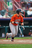 Bowie Baysox catcher Chance Sisco (12) at bat during a game against the Erie SeaWolves on May 12, 2016 at Jerry Uht Park in Erie, Pennsylvania.  Bowie defeated Erie 6-5.  (Mike Janes/Four Seam Images)