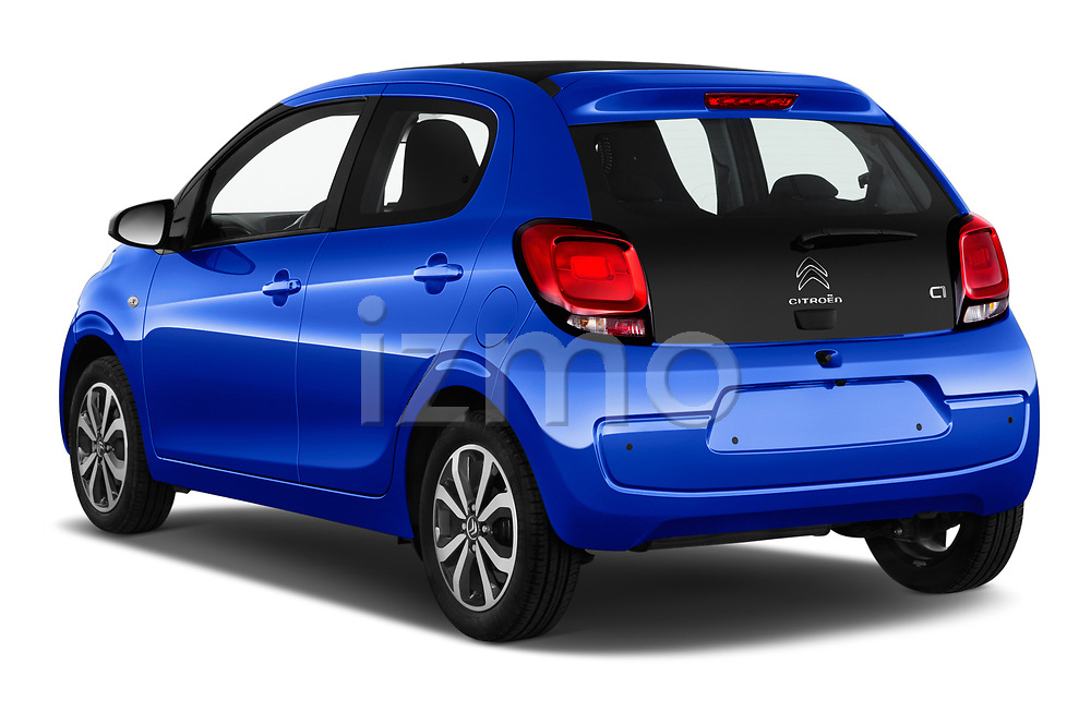 Car pictures of rear three quarter view of a 2018 Citroen C1 Airscape Shine 5 Door Hatchback angular rear
